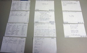 Overview of paper prototype screens